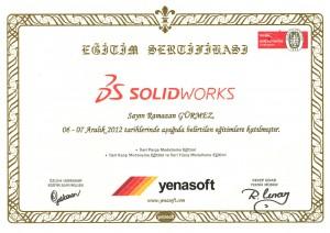 Solidworks ''İleri Düzey'' Kullanıcı Sertifikası