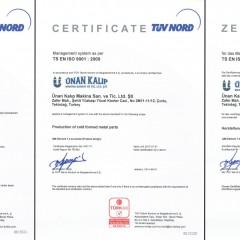ISO 9001 Kalite Yönetim Sistemi Sertifikası TÜRKAK (2014-2017 Arası)