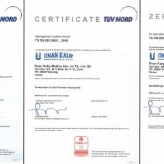 ISO 9001 Kalite Yönetim Sistemi Sertifikası TÜRKAK (2010-2014 Arası)