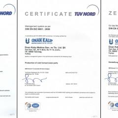 ISO 9001 Kalite Yönetim Sistemi Sertifikası IAF (2010-2014 Arası)