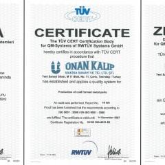 ISO 9001 Kalite Yönetim Sistemi Sertifikası RWTÜV (2004-2007 Arası)