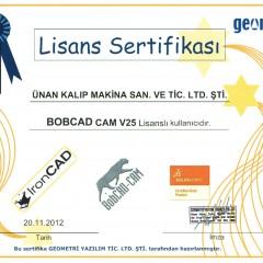BobCAD-CAM ''Şirket Lisans'' Sertifikası