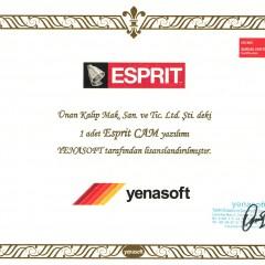 ESPRIT ''Şirket Lisans'' Sertifikası