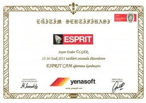 ESPRIT ''Kullanıcı'' Sertifikası