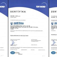 ISO 9001 Kalite Yönetim Sistemi Sertifikası IAF (2021-2023 Arası)